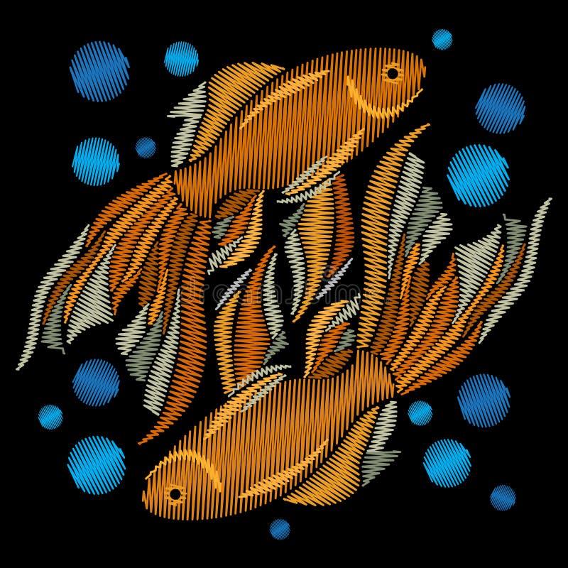Poisson rouge brodé Broderie avec les poissons d'or sur un CCB noir illustration libre de droits