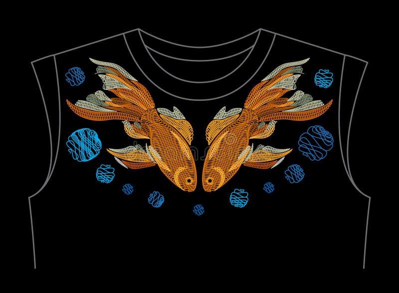 Poisson rouge brodé La broderie avec les poissons d'or sur le cou rayent s illustration libre de droits
