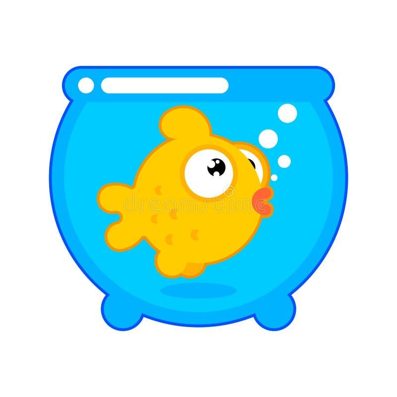 Poisson rouge dans le style de bande dessinée d'aquarium d'isolement Vecteur d'animal de mer de poissons d'or Caractère d'océan illustration stock