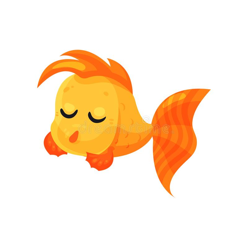 Poisson rouge songeur mignon avec les yeux fermés, illustration drôle de vecteur de personnage de dessin animé de poissons sur un illustration de vecteur