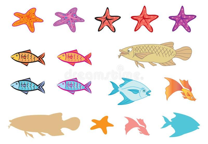 Poissons, étoiles de mer, silhoutte illustration de vecteur