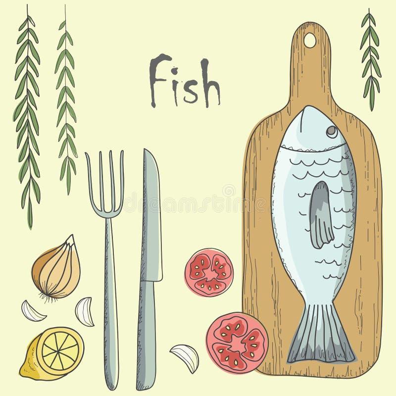 Download Poissons avec des légumes illustration de vecteur. Illustration du oignon - 45370679