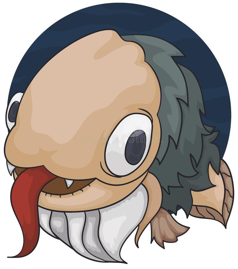 Poissons barbus étranges avec le corps velu et la grande langue, illustration de vecteur illustration de vecteur