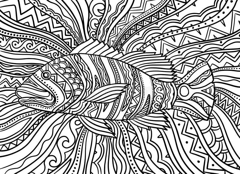 Poissons bas de paon psychédélique abstrait Fond d'illustration de vecteur images libres de droits