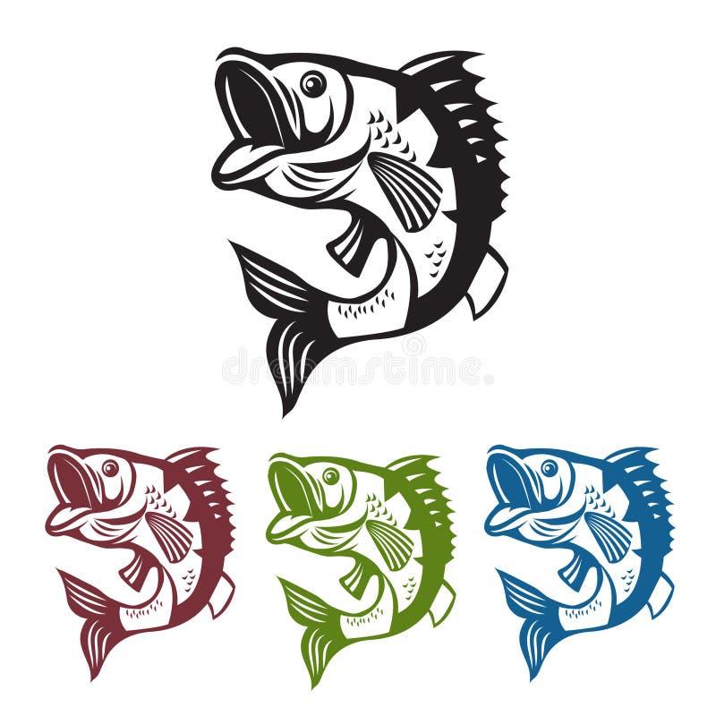 Poissons bas Mascotte de pêche Poissons de basse de calibre Sauter de poissons illustration stock