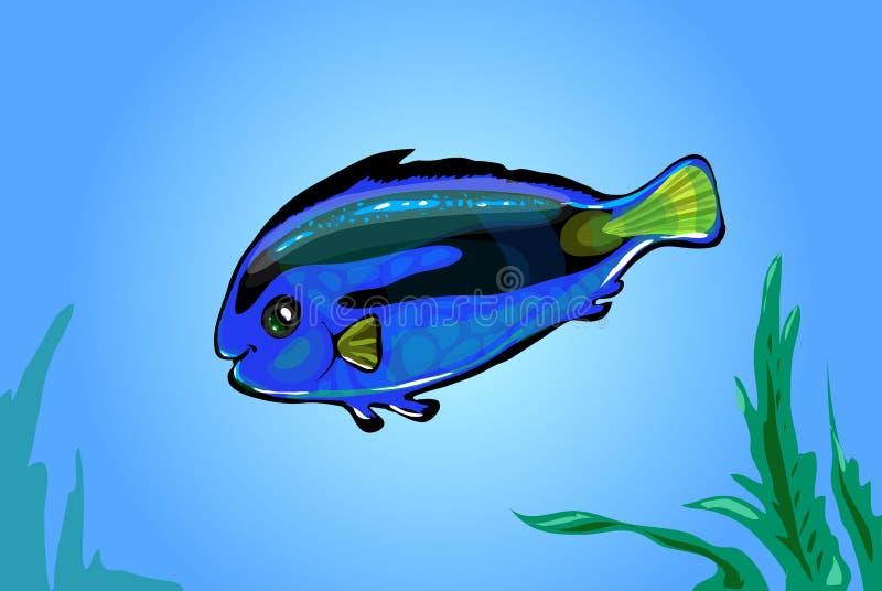 Poissons bleus au néon de vecteur en mer illustration libre de droits