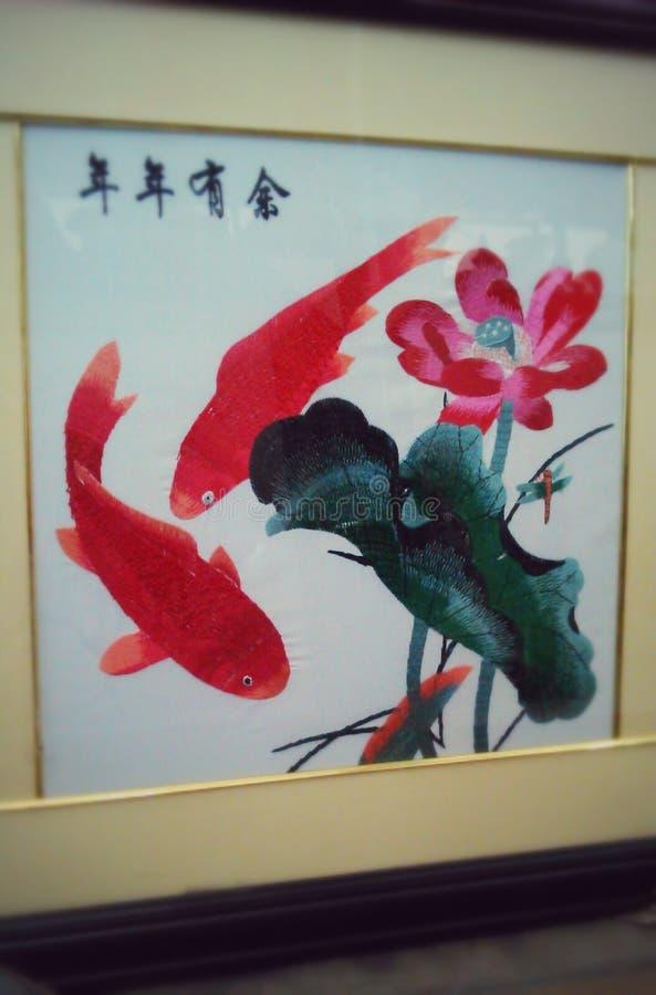 Poissons brodés peignant le style chinois image libre de droits