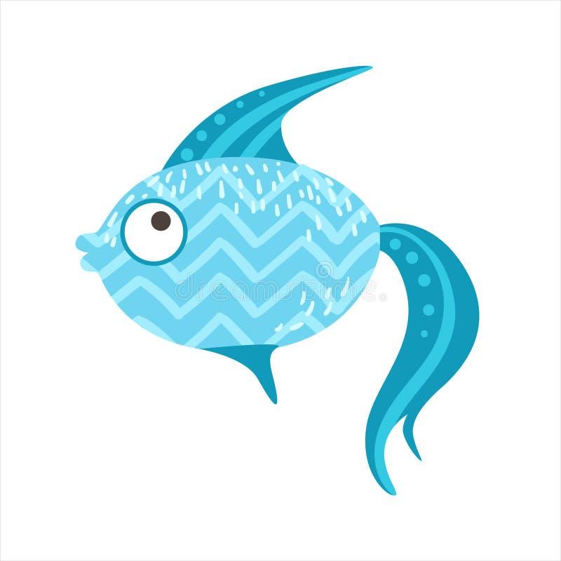 Poissons colorés fantastiques bleus d'aquarium de modèle de zigzag, animal aquatique de récif tropical illustration libre de droits