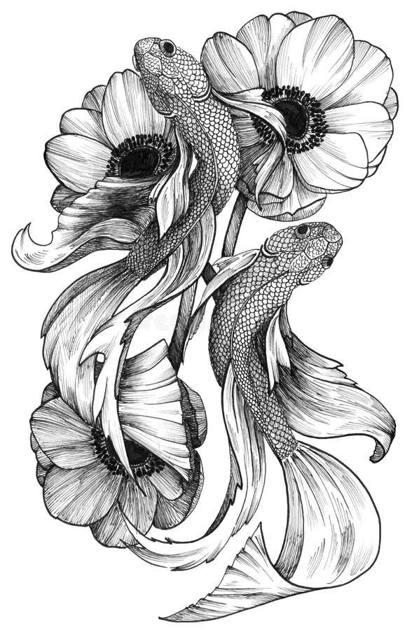 Poissons détaillés à l'encre noire de tatouage en composition florale illustration stock
