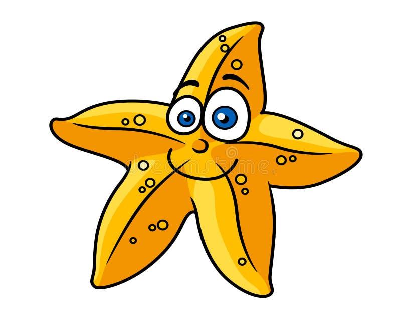 Poissons d'étoile de jaune de Cartooned avec le visage de sourire illustration stock