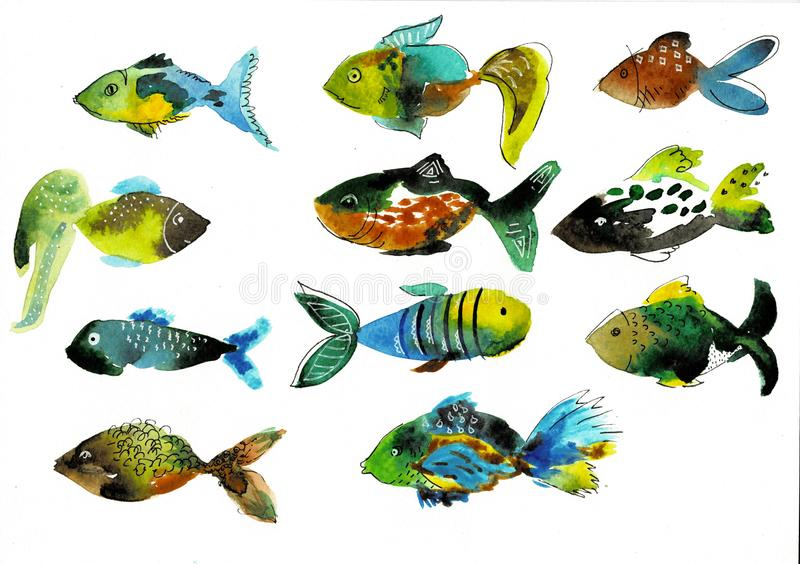 Poissons d'aquarelle sur un fond blanc Illustration de bande dessinée, éléments d'isolement pour la conception illustration stock