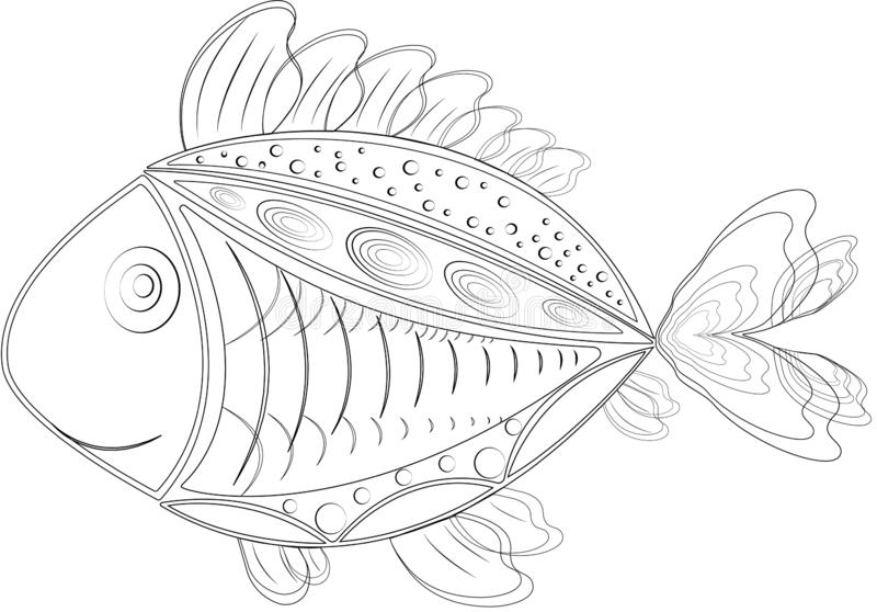 Poissons d'isolement drôles de zentangle illustration de vecteur