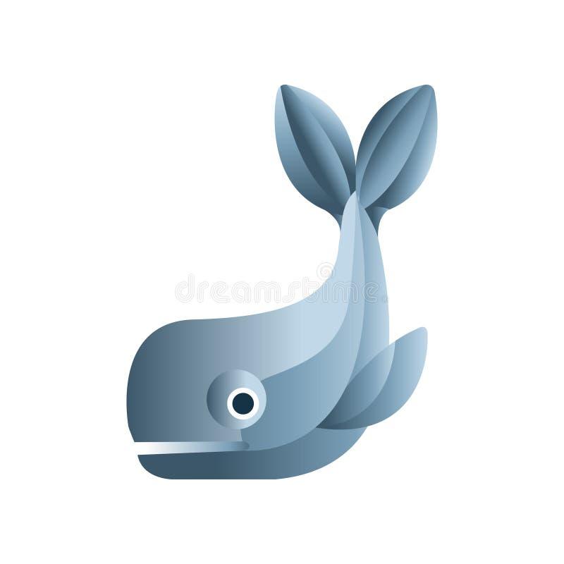 Poissons de baleine, basse poly illustration animale géométrique stylisée de vecteur de conception illustration de vecteur