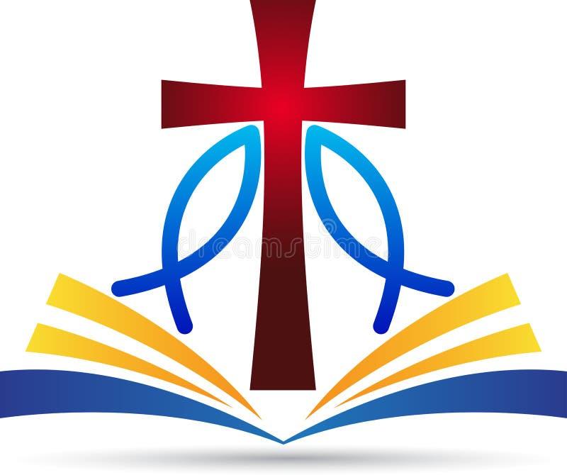 Poissons de bible de croix de Jésus illustration libre de droits