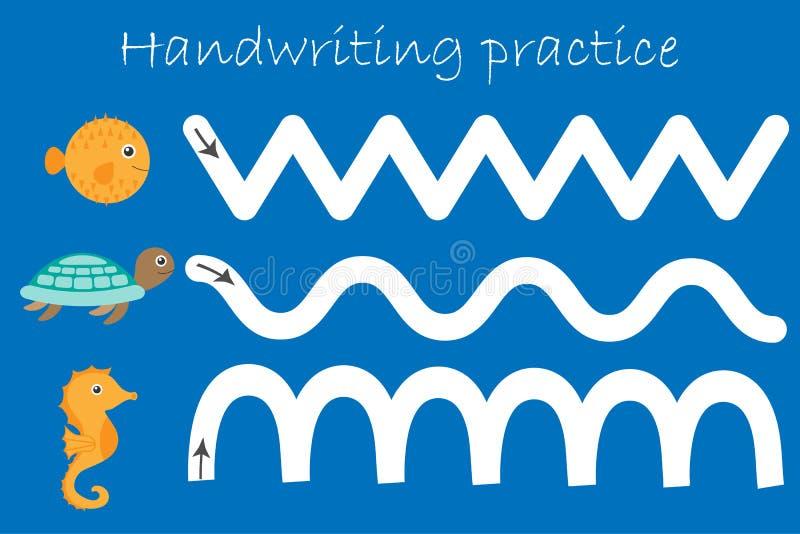 Poissons de décolleur d'animaux d'océan et de mer, tortue, hippocampe, feuille de pratique en matière d'écriture, activité présco illustration de vecteur