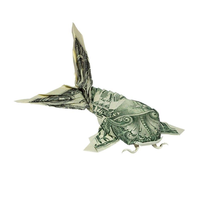 POISSONS de l'origami KOI d'argent pliés avec vrai un billet d'un dollar images libres de droits