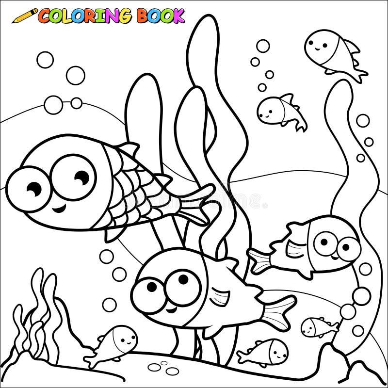 Illustration Stock Poissons De Livre De Coloriage Sous Marins Image58326733 on Kindergarten Animals Worksheets Water