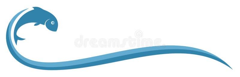 Poissons de logo avec la vague illustration stock