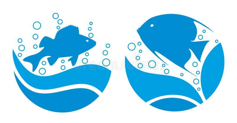 Poissons de logo en mer illustration de vecteur