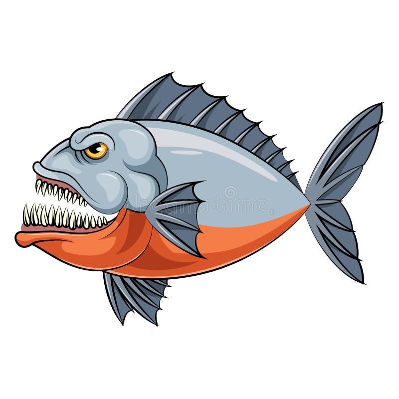Poissons de mascotte d'un piranha illustration stock