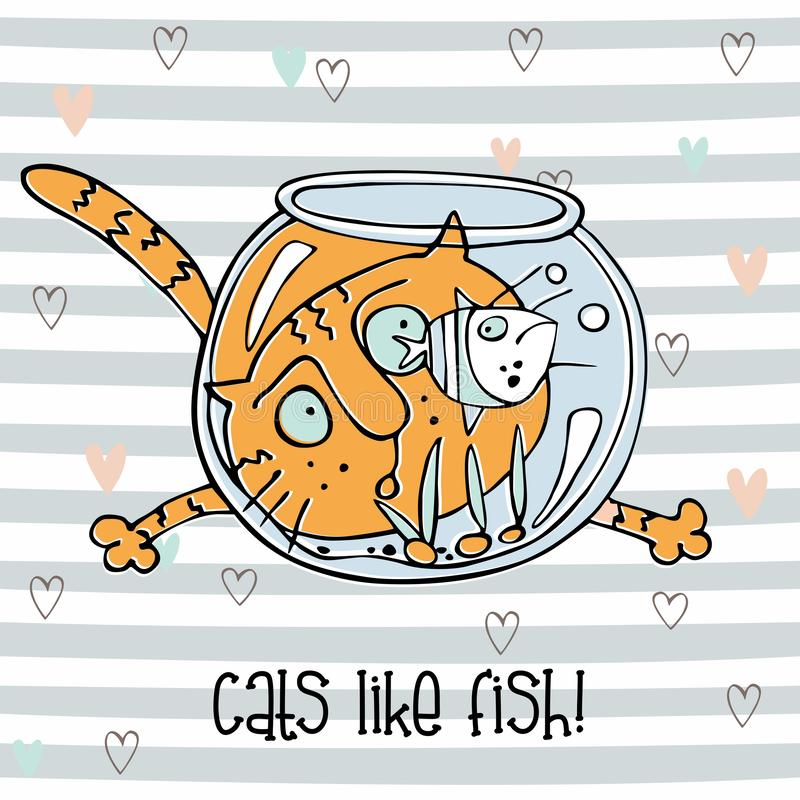 Poissons de observation de chat gai dans l'aquarium Style mignon de griffonnage Fond ray? Vecteur illustration stock