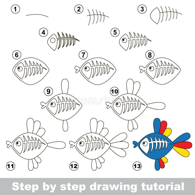 Poissons de rayon X Cours de dessin illustration libre de droits