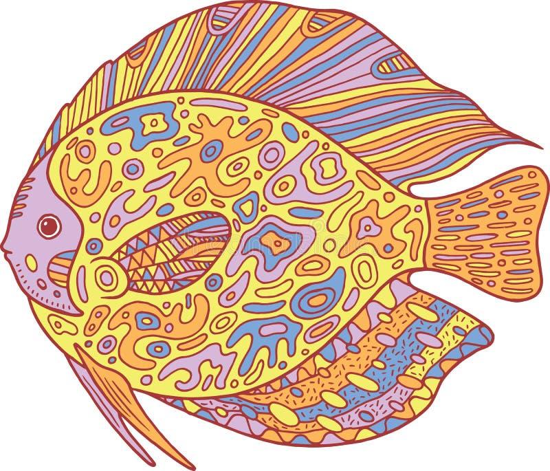 Poissons de zentangle de griffonnage Page de coloration d'art de zen pour des adultes illustration de vecteur