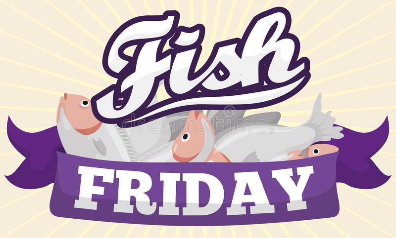 Poissons derrière un ruban pourpre pour des poissons vendredi dans prêté, illustration de vecteur illustration stock