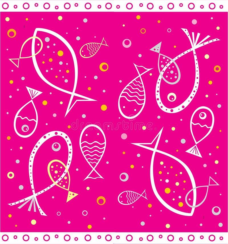 Poissons dessinés par contour dans le type naïf illustration de vecteur