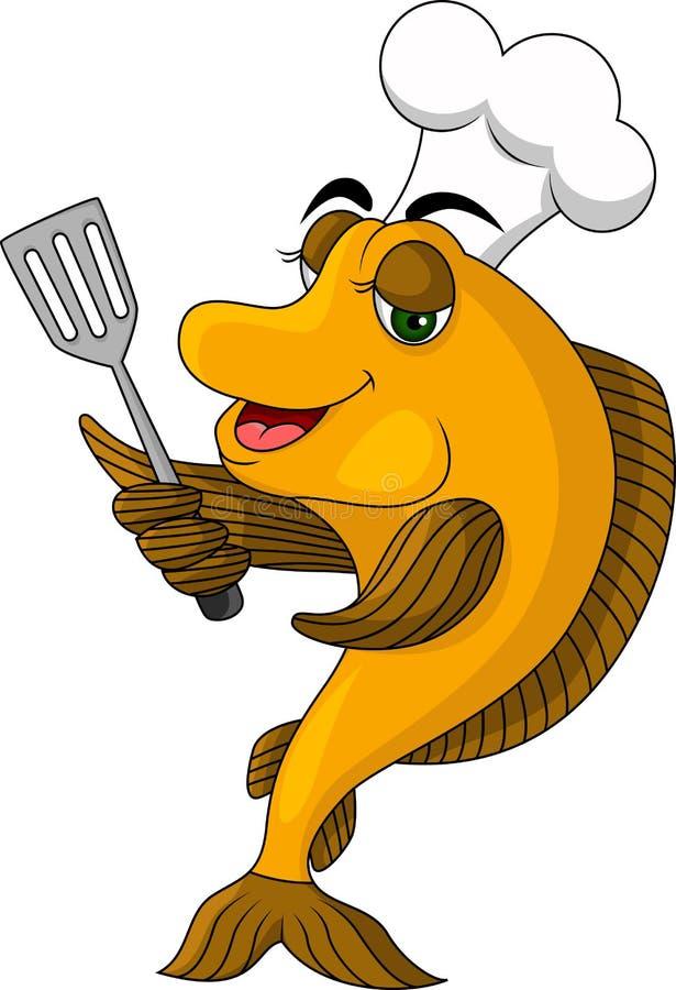 Poissons drôles de cuisinier de dessin animé illustration libre de droits