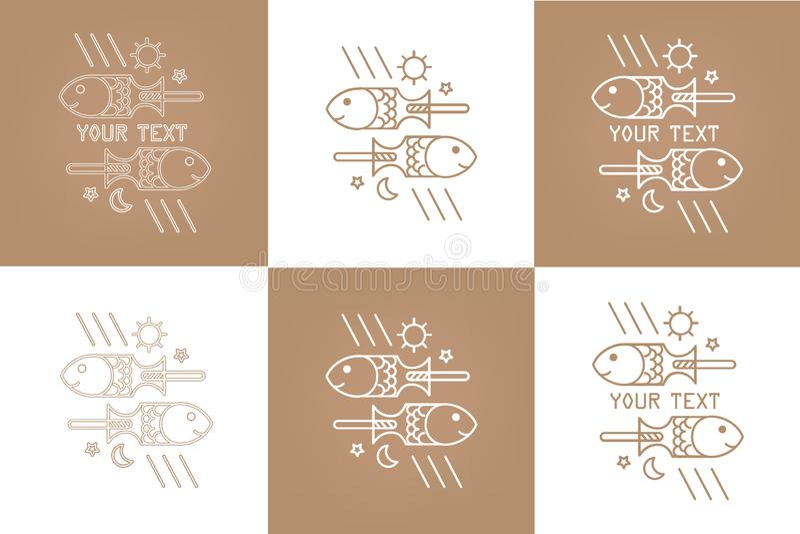 Poissons du dessin deux de vecteur, logo pour le restaurant, barre, marché, magasin en ligne, site Web illustration libre de droits