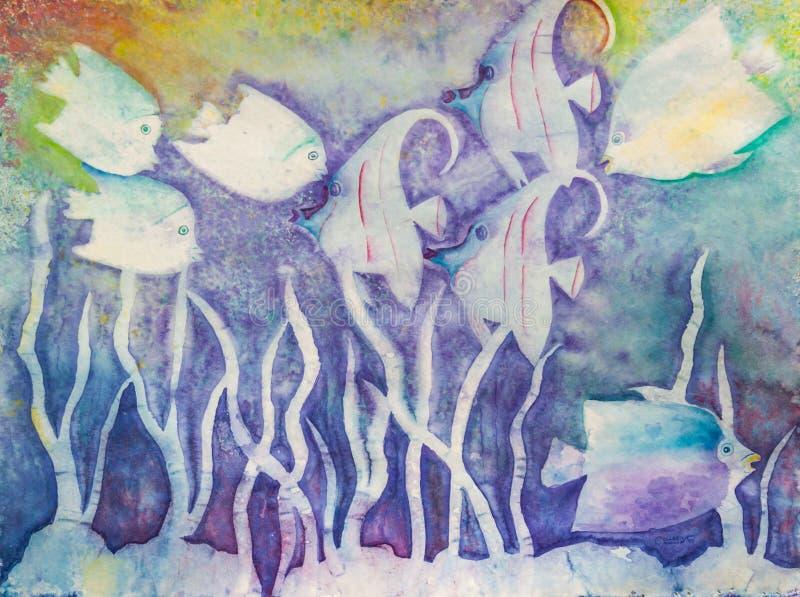Poissons et algue de mer abstraits sous l'eau ; Peinture originale illustration de vecteur