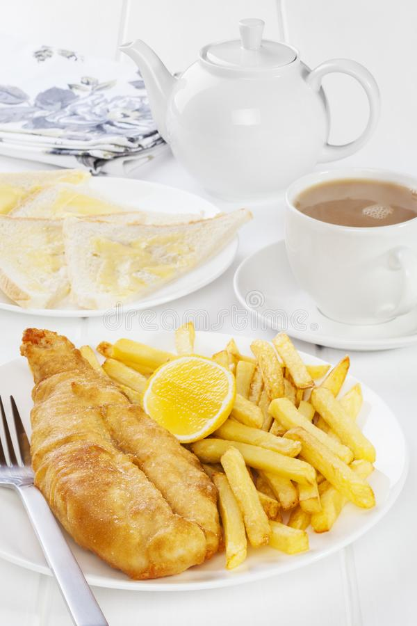 Poissons et Chips Supper photographie stock