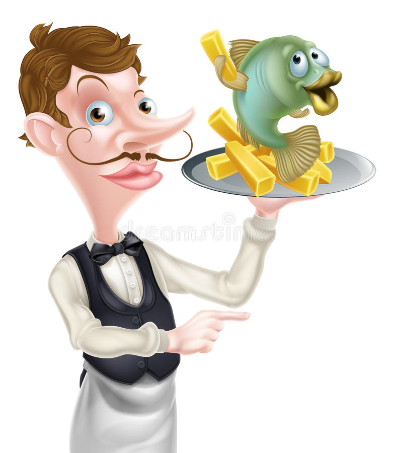 Poissons et Chips Waiter Butler Pointing de bande dessinée illustration stock