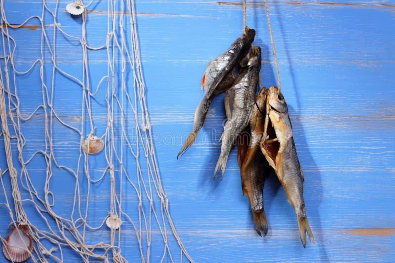 Poissons et filet de pêche secs de rudd sur le fond bleu photographie stock