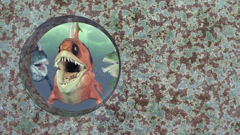 Poissons et naufrage monstrueux illustration stock