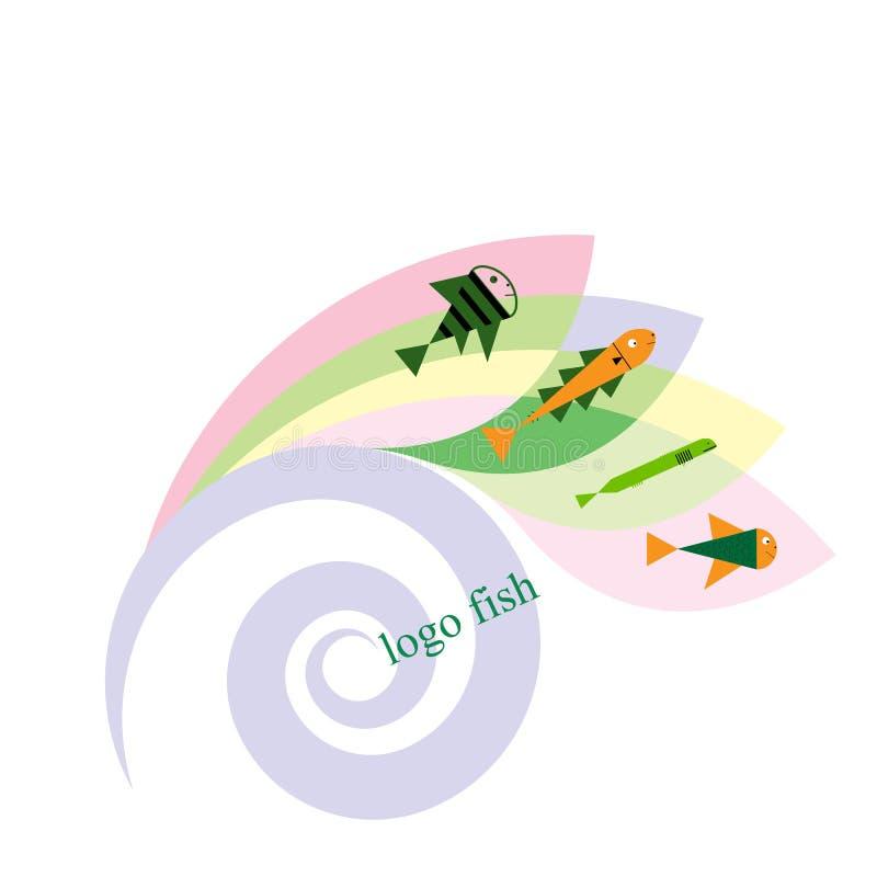 Poissons et pêche du calibre de logo pour votre conception Illustration d'icône ou de vecteur d'emblème illustration stock