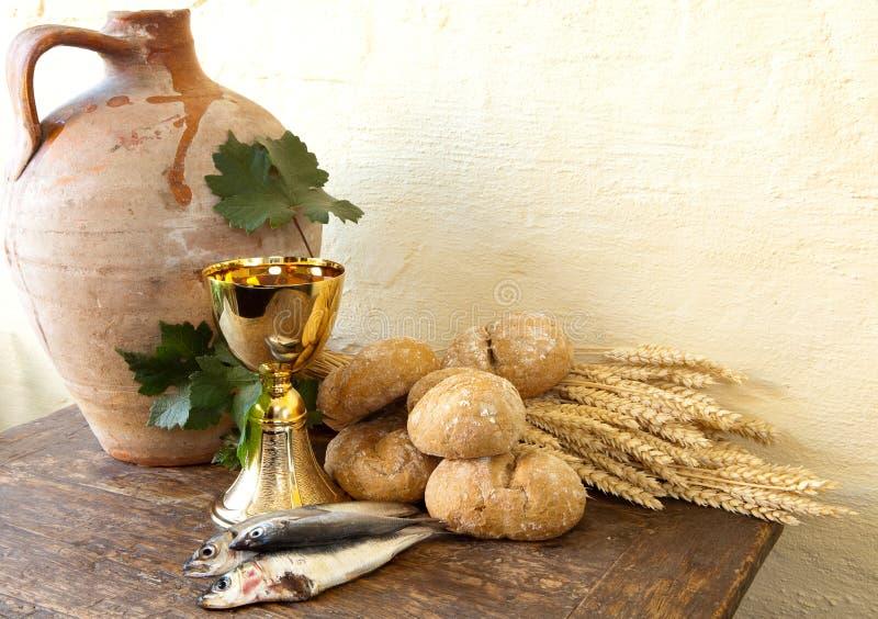 Poissons et pain de Jésus images libres de droits