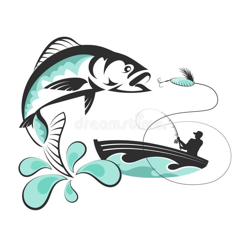 Poissons et un pêcheur dans un bateau illustration libre de droits