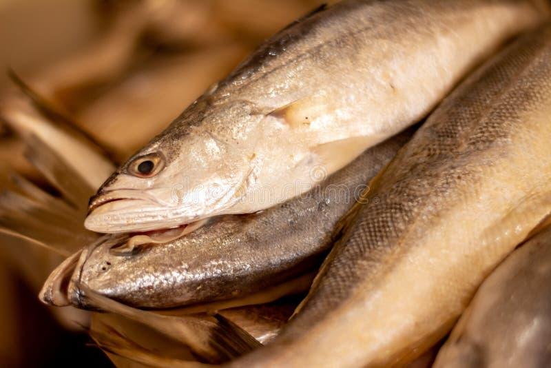 Poissons frais sur le march? Approche des échelles et de la peau des poissons de la mer Protéines de la mer photographie stock