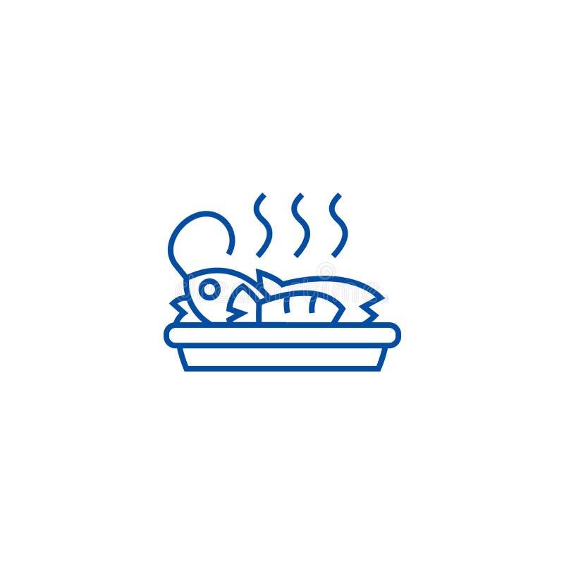 Poissons frits, ligne concept de déjeuner d'icône Poissons frits, symbole plat de vecteur de déjeuner, signe, illustration d'ense illustration libre de droits
