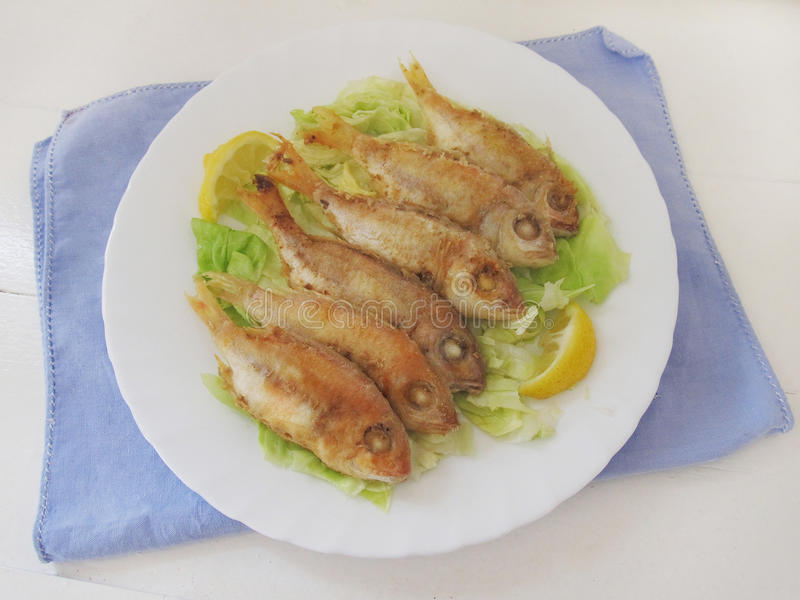 Poissons frits Mulet rouge photographie stock