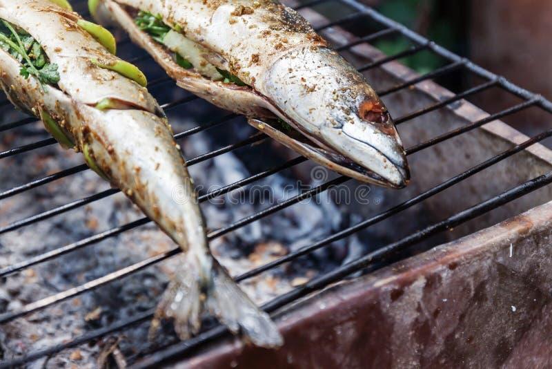 Poissons grillés avec des épices sur la fin du feu  Griller le dorado de poissons photos libres de droits