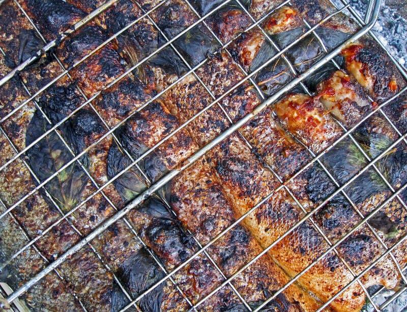Poissons grillés rouges faisant cuire sur le réseau en métal, pique-nique, photos libres de droits