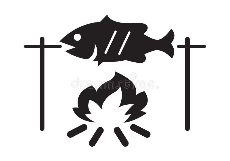 Poissons grillés, vecteur illustration libre de droits