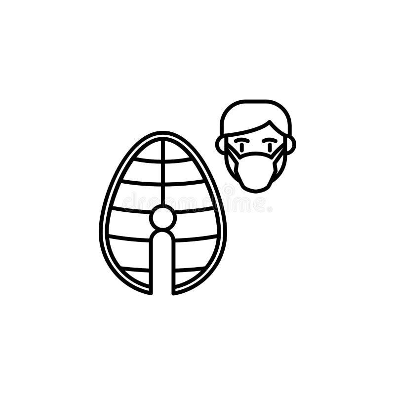 Poissons, icône allergique de visage Élément des problèmes avec l'icône d'allergies Ligne mince icône pour la conception de site  illustration libre de droits