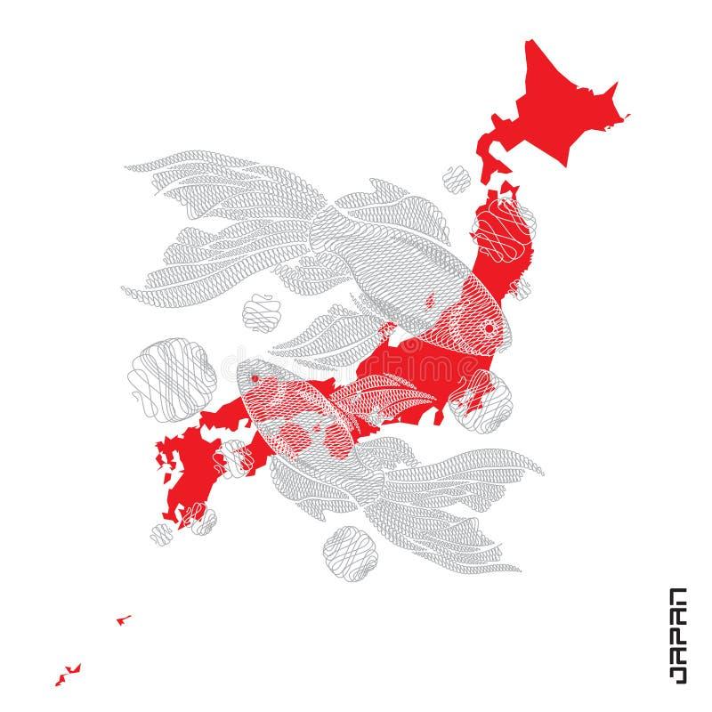 Poissons japonais pour l'impression de T-shirt Illustration de vecteur Embroid illustration de vecteur