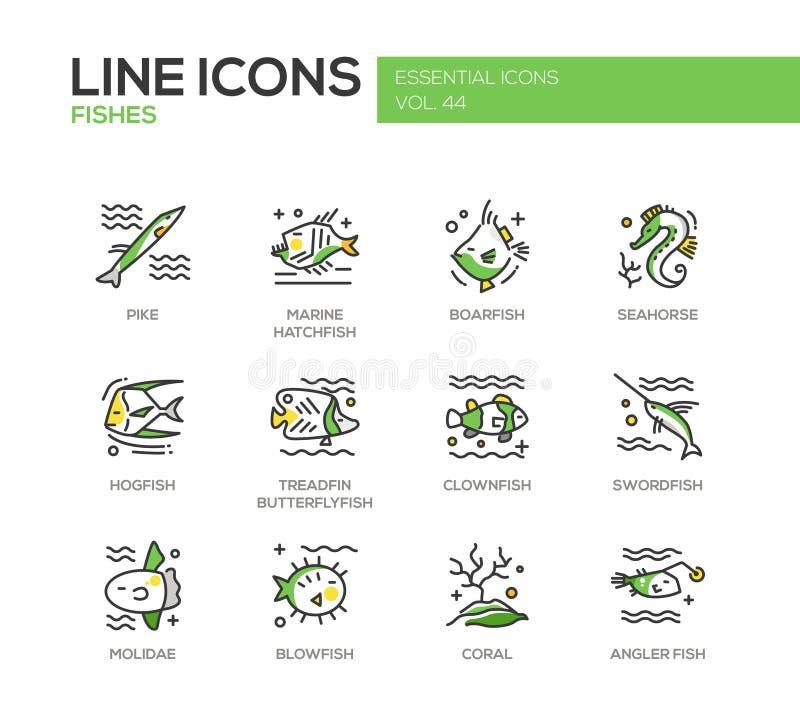 Poissons - ligne icônes de conception réglées illustration stock