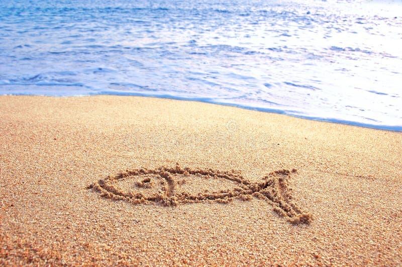 Poissons o dessiné par signe une plage images stock