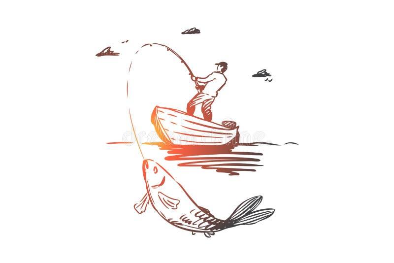 Poissons, pêche, crochet, concept de bateau Vecteur d'isolement tiré par la main illustration stock